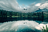 Karrersee in the Dolomites, South Tyrol, Italy, Europe;