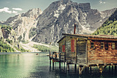 Boathouse Pragser Wildsee in the middle of the Dolomites in South Tyrol, Italy, Europe