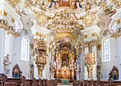 Altar of the Wieskirche near Steingaden, Upper Bavaria, Allgäu, Bavaria, Germany