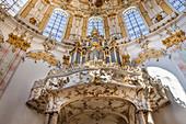 Church organ of the Benedictine Abbey Ettal, Upper Bavaria, Allgäu, Bavaria, Germany