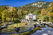 Water parterre and Linderhof Palace, Ettal, Allgäu, Bavaria, Germany