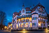 Historic Gasthaus Alpenrose am See near Hohenschwangau Castle in the evening, Schwangau, Allgäu, Bavaria, Germany