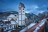 View from the Hohen Schloss to the Basilica of St. Mang, Füssen, Allgäu, Bavaria, Germany