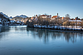 View from the Lech Bridge to the old town of Füssen, Allgäu, Bavaria, Germany