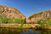 Rocky landscape and secluded lakes at Edith Falls, Northern Territory, Australia