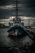 The old ship in the port of Fort Constantine in Kronstadt, Russia