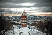 View of the lighthouse - memorial to the deceased sailors in Murmansk, Russia.
