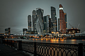 View of the business and residential center, Moscow-City from the bank of the Moscow River, Russia
