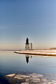 Obereversand lighthouse with mirror image, Dorum, Lower Saxony, Germany