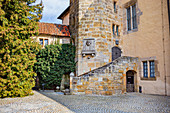 Stone kemenate in the outer courtyard of the fortress with bas-relief of Martin Luther, Coburg, Upper Franconia, Bavaria, Germany