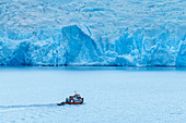 Boat sailing near Grey glacier, Torres del Paine National Park, Chile, South America