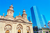 Metropolitan Cathedral and downtown modern buildings, Santiago de Chile, Chile, South America