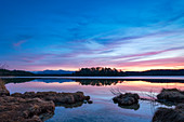 After sunset at the Great Ostersee, Bavaria, Germany, Europe