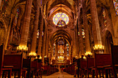 Inside La Seu Cathedral, Palma, Mallorca, Balearic Islands, Spain, Europe