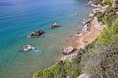 Mirtiotissa Beach, located on the west coast below the town of Pelekas, is considered one of the most beautiful beaches on the island of Corfu, Ionishce Islands, Greece