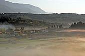 Morning mist over the Ropa Plain, Corfu Island, Ionian Islands, Greece