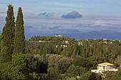 View over the landscape east of Pelekas, Corfu Island, Ionian Islands, Greece