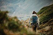 Wanderin from behind, Switzerland, hiking, mountains,