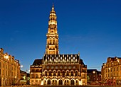 France, Pas de Calais, Arras, place des Heros (Heroes square) and the city hall listed as World Heritage by UNESCO
