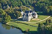 France, Cher, Oizon, the castle of la Verrerie (aerial view)