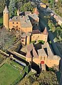 France, Rhone, Beaujolais, Les Pierres Dorees, Jarnioux, the castle (aerial view)