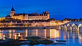 France, Loiret, Gien, Sainte Jeanne d'Arc (Joan of Arc) church, the castle and the banks of the Loire river