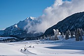 France, Haute Savoie, Bornes massif, Plateau des Glieres, cross country ski trails, the national monument of the resistance of Emile Gilioli and the peak of Jalouvre