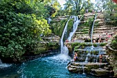 France, Gard, the Causses and the Cevennes, Mediterranean agro pastoral cultural landscape, listed as World Heritage by UNESCO, Saint Maurice Navacelles, Navacelles circus, waterfall, Vis river