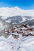 France, Savoie, Vanoise massif, valley of Haute Tarentaise, Les Arcs 2000, part of the Paradiski area, view of the Mont Blanc (4810m) and La Rosiere resort (aerial view)