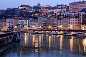 France, Rhone, Lyon, 1st arrondissement, Les Terreaux district, Saint Vincent quay, the Saint Vincent footbridge on La Saone