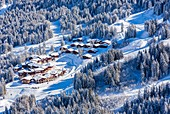 France, Savoie, Valmorel, Massif of the Vanoise, Tarentaise valley, view of the Club Med, (aerial view)