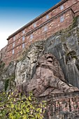 France, Territoire de Belfort, Belfort, under the citadel, the monumental sculpture of the lion of Bartholdi