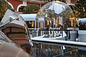 France, Paris, Royal Monceau hotel, ephemeral design ice floes on the terrace of the Royal Monceau