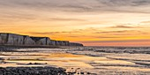 France, Somme, Bay of Somme, Picardy Coast, Ault, Twilight on the cliffs