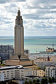 France, Seine Maritime, Le Havre, Downtown rebuilt by Auguste Perret listed as World Heritage by UNESCO, the St. Joseph's Church
