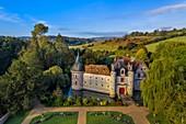 France, Calvados, Pays d'Auge, 15th and 16th century Saint Germain de Livet Castle labeled Museum of France (aerial view)