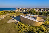 France, Calvados, Courseulles sur Mer, Juno Beach Centre, museum dedicated to Canada's role during the Second World War (aerial view)