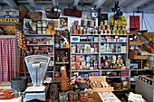 France, Manche, Carentan, L'Atelier, the wartime groceries café, reconstituted by collectors of 1940s military and civilian objects Sylvie and Jean-Marie Caillard