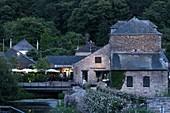 France, Morbihan, La Gacilly, Yves Rocher House at dusk