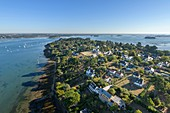 France, Morbihan, Ile-aux-Moines, aerial view of the Gulf of Morbihan and Monk island