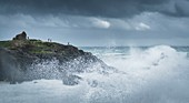 France, Morbihan, St-Pierre-Quiberon, the Wild Coast and the tip of Percho on a stormy day