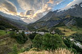 France, Hautes Alpes, The massive Grave of Oisans, the village at the foot of Meije and its valleys