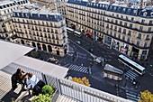 France, Paris, Boulevard Haussman, Cafe Terrace of Le Printemps Haussmann department store