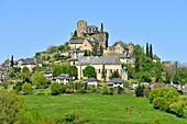 France, Correze, Turenne, labelled Les Plus Beaux Villages de France (The Most Beautiful Villages of France), Notre Dame Saint Pantaleon church or collegiate church and castle