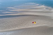 France, Gironde, Bassin d'Arcachon, sandbank at low tide along the Teychan channel (aerial view)