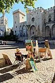 France, Vaucluse, Avignon, Palais Square, Palais of the Popes (XIV) classified UNESCO World Heritage, painters