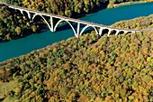 France, Ain, Haut Jura regional natural park, Leaz, The Ecluse parade (classified site) and the Longeray viaduct on the Rhone (aerial view)