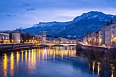 France, Isere, Grenoble, dusk on the banks of Isere river, Vercors massif in the background