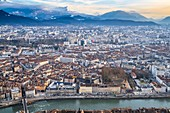 France, Isere, Grenoble, panorama over the old city and the banks of Isere river