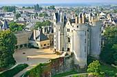 France, Maine et Loire, Montreuil Bellay, the castle (aerial view)